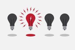 Abstract flat design lightbulbs. Eureka concept. Royalty Free Stock Photography