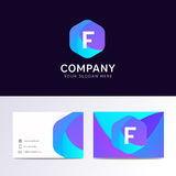 Abstract flat F letter logo iconic sign with company business ca. Rd vector design Royalty Free Stock Photo