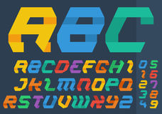 Abstract Flat folded paper style colourful alphabet letters and numbers. Stock Images
