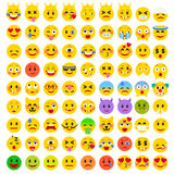 Abstract Flat Funny Set of Emoticons. Set of Emoji. Good Mood Smile Icons. Emotions of Happiness, Love, Anger, Frustration, Eagerness Royalty Free Stock Photos