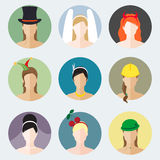 Abstract flat girls icons vector set for use in design for profi. Le page or avatar. Different womens characters stock illustration