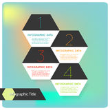 Abstract flat hexagon infographics options banner. Vector illustration of abstract white flat hexagon modern infographics options Royalty Free Stock Images