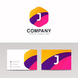 Abstract flat hexagon shape J logo letter iconic sign vector des Stock Photo