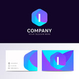 Abstract flat I letter logo iconic sign with company business ca Stock Images