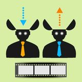 Abstract flat icon man watching movies eps Stock Photos