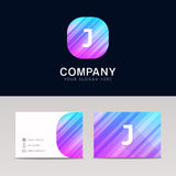 Abstract flat J icon sign symbol company logo with business card Stock Photo