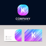 Abstract flat K icon sign symbol company logo with business card Stock Photography