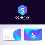 Abstract flat S letter logo iconic sign with company business ca Stock Image
