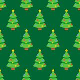 Abstract flat style seamless christmas pattern. Background with spruce christmas tree Royalty Free Stock Image