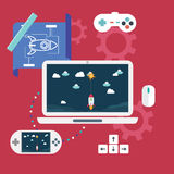 Abstract flat vector illustration of game development concepts. Design elements for mobile and web applications. Royalty Free Stock Image
