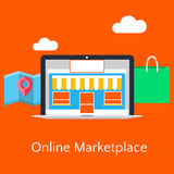 Abstract flat vector illustration of online marketplace concept stock image