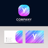 Abstract flat Y icon sign symbol company logo with business card Stock Photos