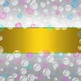 Abstract Floating Blue, Pink and White Bubbles in Gradated Gray Background vector illustration