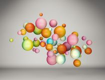 Abstract floating colorful gradient balls background. 3D rendering royalty free illustration