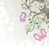 Abstract flora background with butterflies Stock Photos