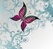 Abstract flora background with butterflies Royalty Free Stock Photography