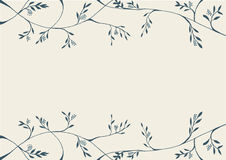 Abstract flora frame line art drawing illustration blue on light grey background Royalty Free Stock Photo