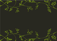 Abstract flora frame line art drawing illustration green on dark grey background Stock Photos