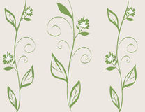 Abstract flora line art illustration; nature decorative wallpaper in green Royalty Free Stock Image