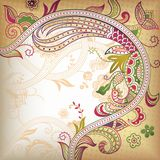 Abstract Floral. Background in asia style, the curve shape included a bird Stock Images