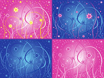 Abstract floral artwork in four different color va. Abstract phantasmagoric floral hand drawing vector artwork in four different color designs with pink and blue stock illustration