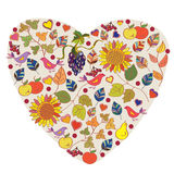 Abstract floral autumn heart with fruits Royalty Free Stock Photography