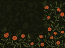 Abstract floral background. Vector abstract floral pattern on green background royalty free illustration