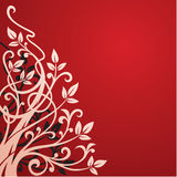 Abstract floral background. On a red Royalty Free Stock Images