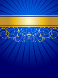 Abstract floral background. Blue and gold Royalty Free Stock Photo