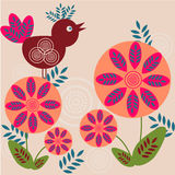 Abstract floral background. Bird and flowers - retro stylized background vector illustration