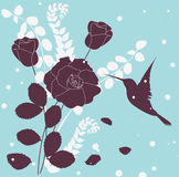 Abstract floral background. Bird and roses vector illustration