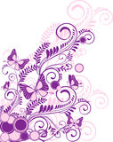 Abstract floral background. Purple abstract floral ornament with butterflies Stock Photography