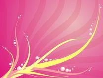Abstract floral background. Illustration of delicate yellow floral wisps on pink background Stock Image