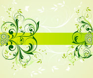 Abstract floral background. Abstract green floral background with banner and copy space Royalty Free Illustration