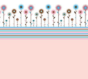 Abstract floral background. Abstract background with stripes and flowers in retro style royalty free illustration