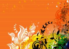 Natural motif design on orange background. A natural motif design with plants and butterflies on an orange background Royalty Free Stock Photos