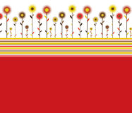 Abstract floral background. Abstract background with stripes and flowers in retro style stock illustration