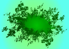 Abstract floral background with artistic eye. Green background Stock Photo