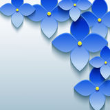 Abstract floral background with blue 3d flowers Stock Photo