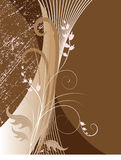 Abstract floral background on brown. Vector illustration Royalty Free Stock Image