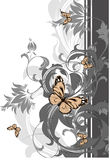 Abstract floral background with butterflies. Stock Photo