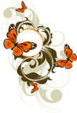 Abstract floral background with butterflies. Stock Image