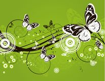 Abstract floral background with butterflies. Stock Images
