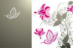 Abstract floral background with butterflies Royalty Free Stock Photos