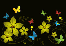 Abstract floral background with butterflies Stock Photo