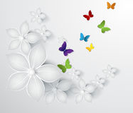 Abstract floral background with butterflies Stock Photos