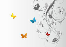 Abstract floral background with butterflies Royalty Free Stock Image
