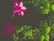 Abstract floral background with butterfly Stock Photo