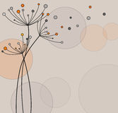 Abstract floral background. With circles stock illustration