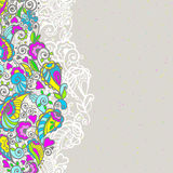 Abstract floral background. With colored doodle elements. Vector illustration Royalty Free Stock Photos